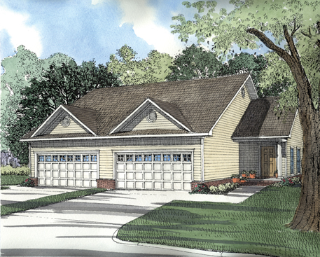 Traditional Multi-Family Plan 62350 Elevation