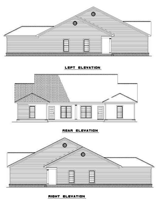Traditional Multi-Family Plan 62350 Rear Elevation