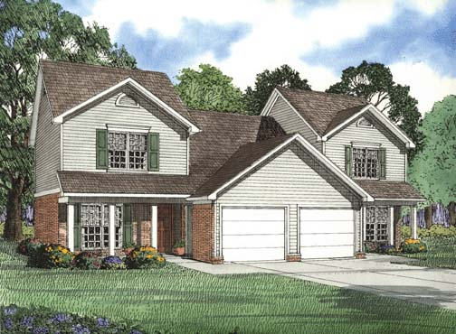 Traditional Multi-Family Plan 62377 with 6 Beds, 6 Baths, 2 Car Garage Elevation