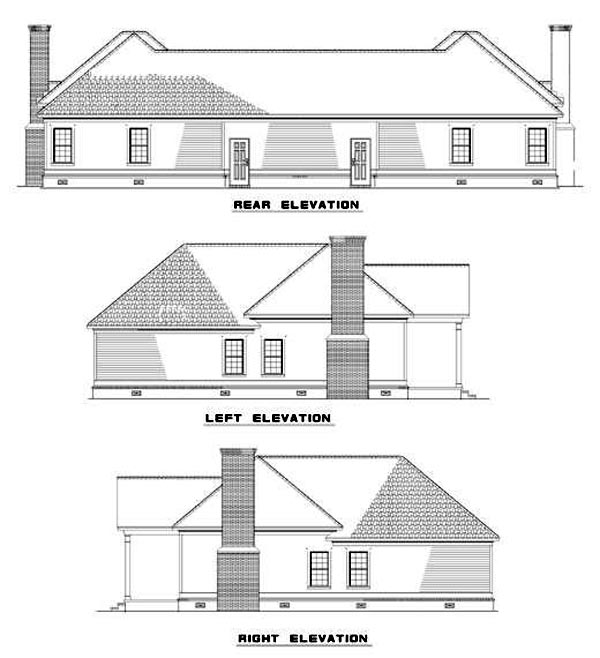 Traditional Multi-Family Plan 62378 Rear Elevation