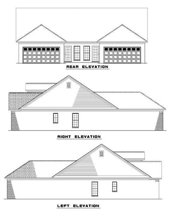 Multi-Family Plan 62379 Rear Elevation