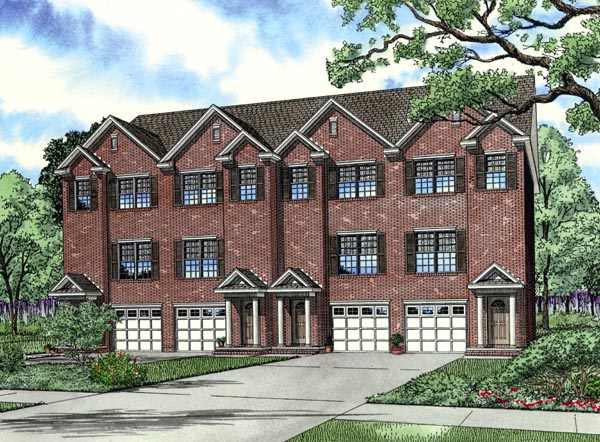 Traditional Multi-Family Plan 62387 Elevation