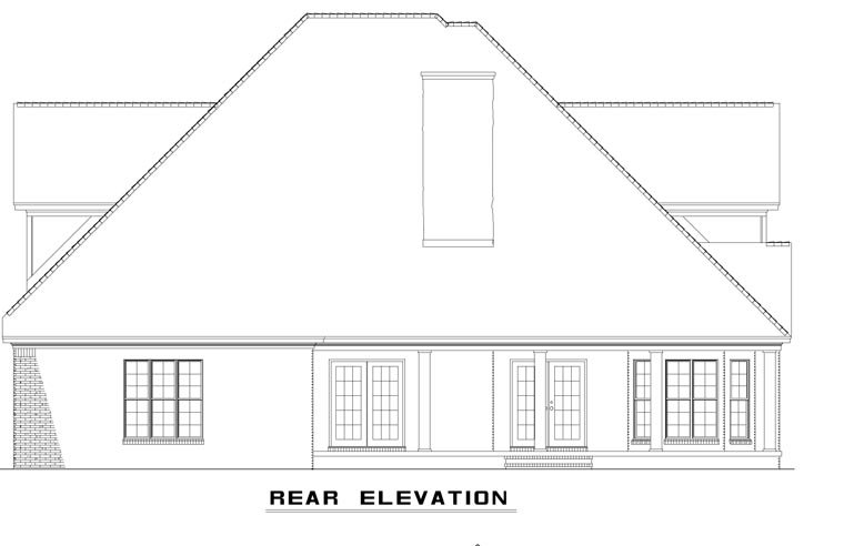 Craftsman European Tudor House Plan 62393 Rear Elevation