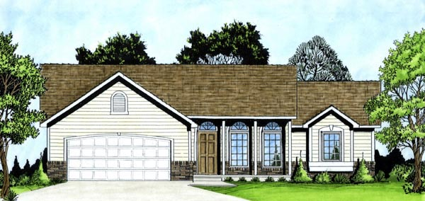 Ranch House Plan 62537 Elevation