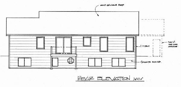 Ranch House Plan 62537 Rear Elevation