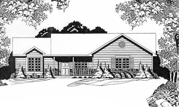 Ranch House Plan 62544 Elevation