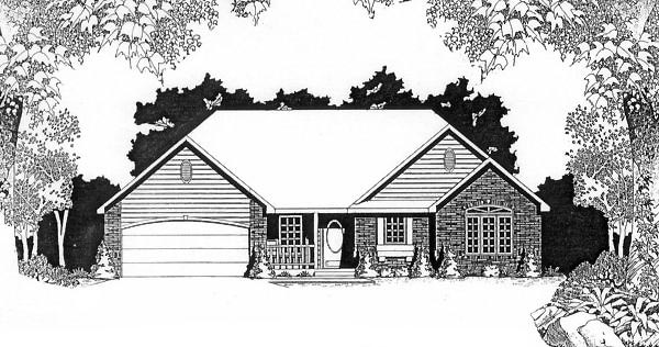 One-Story, Traditional House Plan 62548 with 2 Beds, 2 Baths, 2 Car Garage Elevation