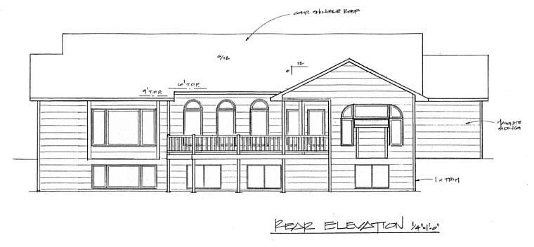 European House Plan 62588 with 2 Beds, 2 Baths, 3 Car Garage Rear Elevation