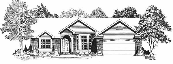 One-Story, Traditional House Plan 62596 with 4 Beds, 2 Baths, 2 Car Garage Elevation
