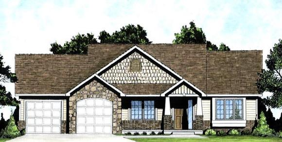 Traditional House Plan 62607 with 2 Beds, 2 Baths, 2 Car Garage Elevation