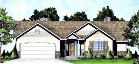 Ranch, Traditional House Plan 62622 with 2 Beds, 2 Baths, 2 Car Garage Elevation