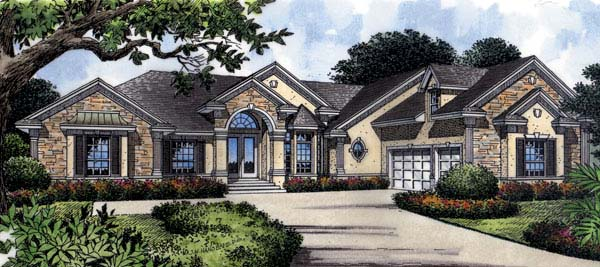 Mediterranean House Plan 63018 with 4 Beds, 4 Baths, 3 Car Garage Elevation