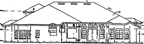 Florida Mediterranean Rear Elevation of Plan 63021