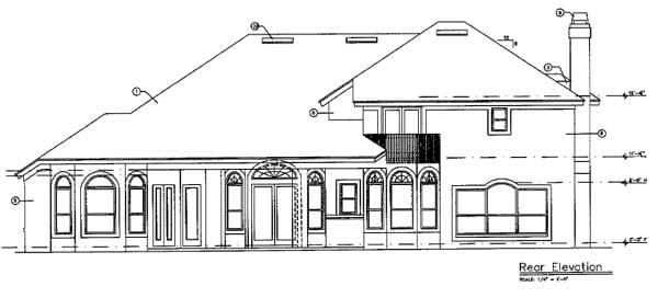 Florida Mediterranean Southern Traditional House Plan 63023 Rear Elevation