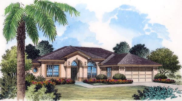 French Country Mediterranean Southern House Plan 63162 Elevation