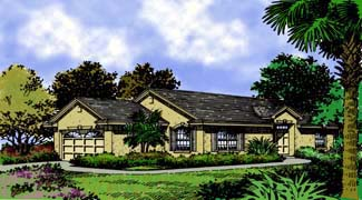 Contemporary Florida Mediterranean House Plan 63179 Elevation