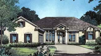 One-Story, Traditional House Plan 63183 with 4 Beds, 3 Baths, 2 Car Garage Elevation