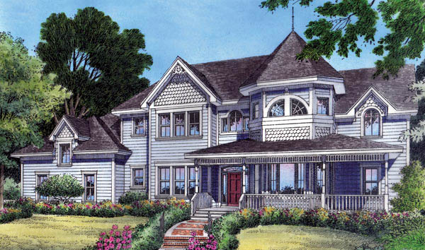 Farmhouse Mediterranean Victorian House Plan 63185 Elevation