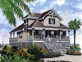 Coastal, Narrow Lot, Traditional House Plan 63196 with 4 Beds, 2 Baths, 2 Car Garage Elevation