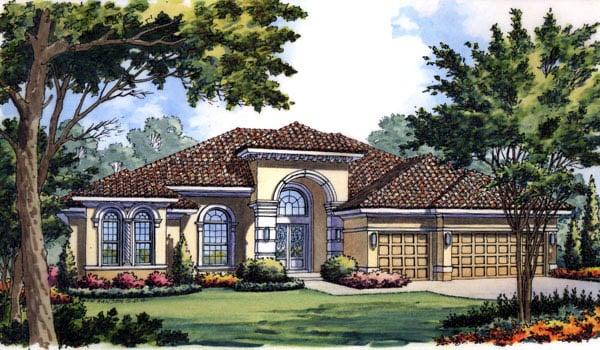 Contemporary Florida Mediterranean House Plan 63217 Elevation