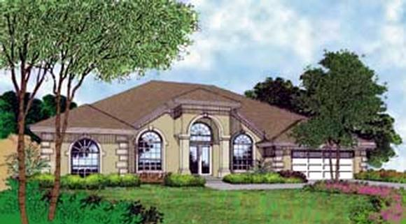 Contemporary, Florida, Mediterranean, One-Story House Plan 63247 with 4 Beds, 3 Baths, 2 Car Garage Elevation