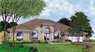 Florida, One-Story House Plan 63248 with 4 Beds, 3 Baths, 2 Car Garage Elevation