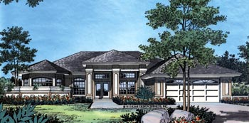 Contemporary, Florida, Mediterranean, One-Story House Plan 63253 with 4 Beds, 3 Baths, 2 Car Garage Elevation