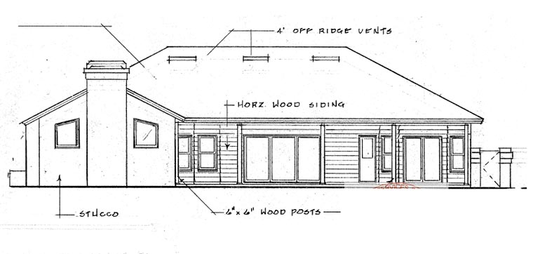 Contemporary, Florida, Mediterranean, One-Story House Plan 63253 with 4 Beds, 3 Baths, 2 Car Garage Rear Elevation