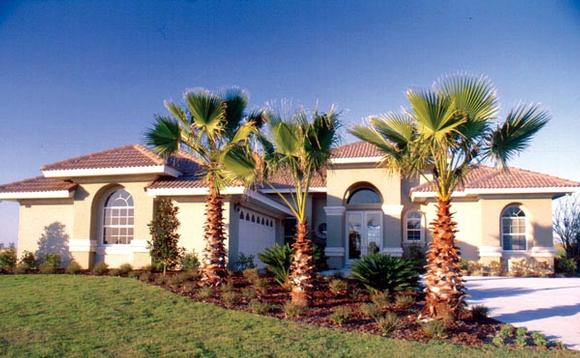 Contemporary, Florida, Mediterranean, One-Story House Plan 63265 with 3 Beds, 3 Baths, 2 Car Garage Elevation