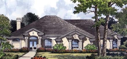 Contemporary, Florida, Mediterranean, One-Story House Plan 63277 with 3 Beds, 2 Baths, 2 Car Garage