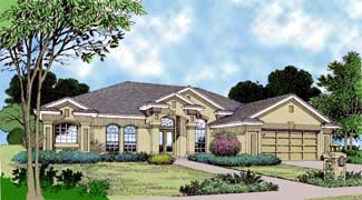 Contemporary, Florida, Mediterranean, One-Story House Plan 63289 with 3 Beds, 3 Baths, 2 Car Garage Elevation
