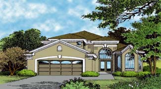 Contemporary, Florida, Mediterranean House Plan 63307 with 4 Beds, 4 Baths, 2 Car Garage Elevation
