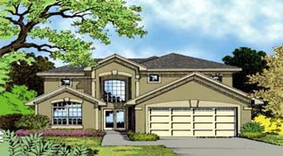 Contemporary, Florida, Mediterranean, Narrow Lot House Plan 63313 with 4 Beds, 4 Baths, 2 Car Garage Elevation