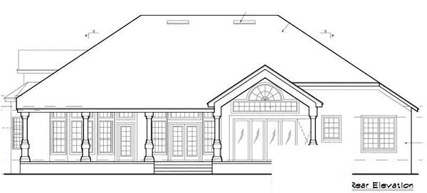 Contemporary Mediterranean Traditional House Plan 63336 Rear Elevation