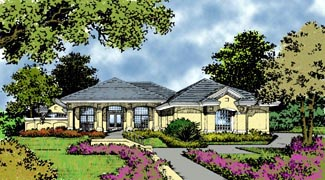 Contemporary Florida Mediterranean House Plan 63351 Elevation