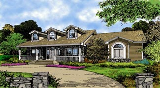 Country Farmhouse Southern Traditional House Plan 63353 Elevation