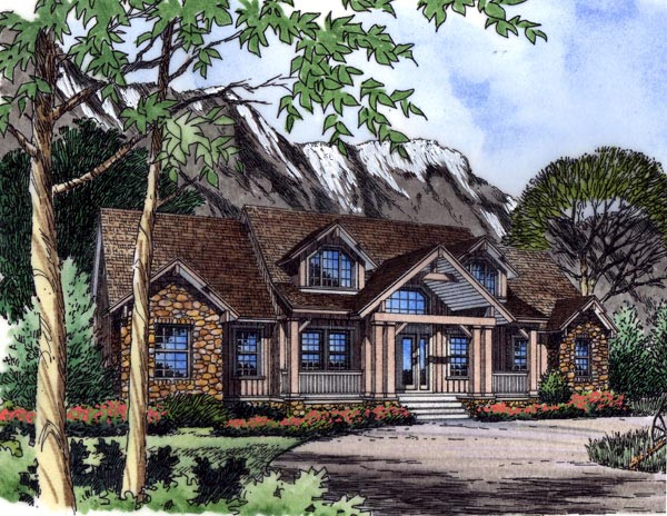 Country Farmhouse Traditional House Plan 63355 Elevation