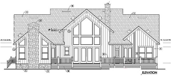 Country Farmhouse Traditional House Plan 63355 Rear Elevation