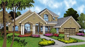 Contemporary Florida Mediterranean House Plan 63357 Elevation