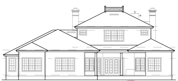 Colonial, Southern, Traditional House Plan 63360 with 4 Beds, 5 Baths, 3 Car Garage Rear Elevation
