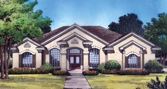 Contemporary, Florida, Mediterranean, One-Story House Plan 63365 with 4 Beds, 3 Baths, 2 Car Garage Elevation