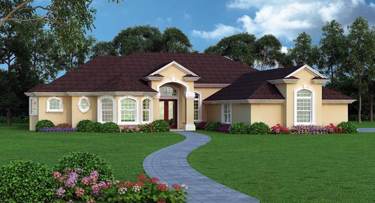 European, Mediterranean, Tuscan House Plan 63380 with 4 Beds, 4 Baths, 3 Car Garage Elevation