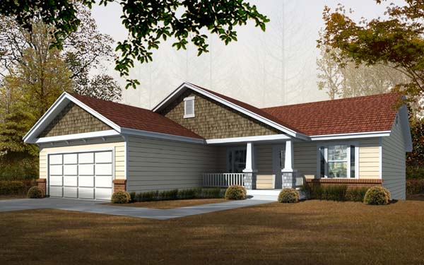 Craftsman House Plan 63513 with 5 Beds, 3 Baths, 2 Car Garage Elevation