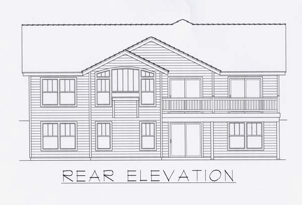 Craftsman House Plan 63513 with 5 Beds, 3 Baths, 2 Car Garage Rear Elevation