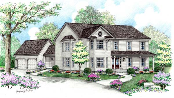 Farmhouse, Victorian House Plan 64417 with 4 Beds, 3 Baths, 2 Car Garage Elevation