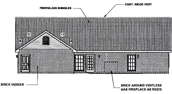 Country House Plan 64503 with 4 Beds, 3 Baths, 2 Car Garage Rear Elevation