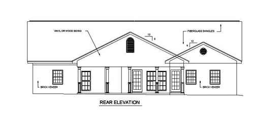 Country Southern House Plan 64506 Rear Elevation