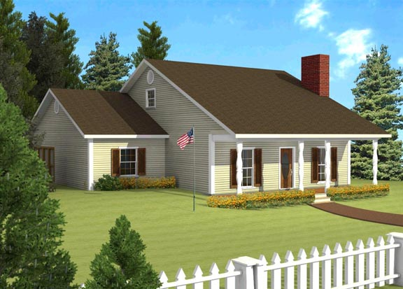 One-Story, Ranch House Plan 64517 with 3 Beds, 1 Baths Elevation