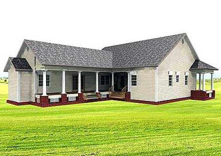 Bungalow Country Southern House Plan 64519 Rear Elevation