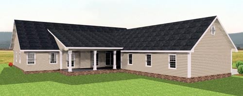Country Ranch House Plan 64521 Rear Elevation